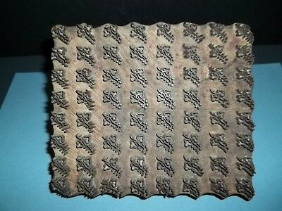 Vintage Indian Hand Carved Wood w/metal GRAPES Wallpaper-Printing Block- Fabric