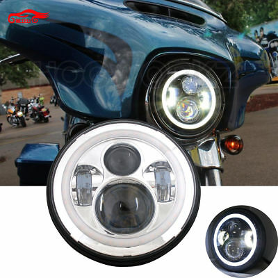 HARLEY 7 INCH LED HEADLIGHT DAYMAKER Chrome HALO 2014+ ROAD KING STREET GLIDE