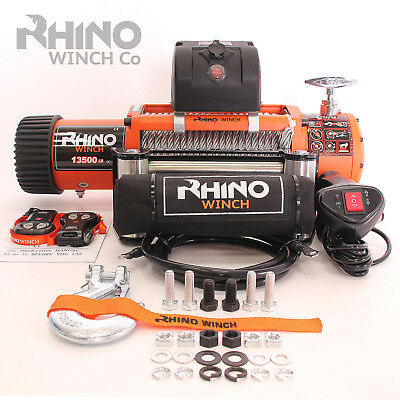 Electric Recovery Winch - 12v 13500lb - Heavy Duty Steel Cable, 4x4 Car ~ RHINO
