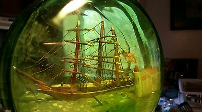 antique Ship In a Bottle green glass unique upright hand crafted 1912