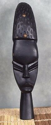 Vintage Hand-carved African Warrior Statue Face 11""