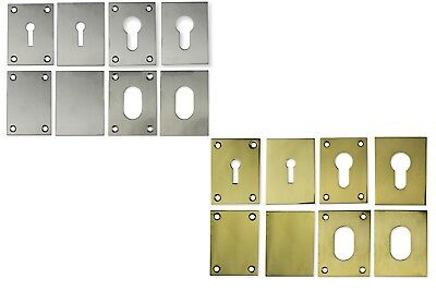 Door Escutcheon Repair Plate For Mortice Key - Oval - Euro Profile 65Mm X 45Mm
