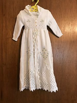 Vintage ~ 3 pc White Knit Baby Outfit UNISEX(GREAT FOR CHRISTENING)MUST SEE~NOWT