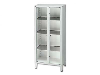 Steel Cabinet With Glass Doors And Three Adjustable Shelves Cm. 75X37X164H