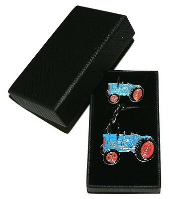 Fordson Major Vintage Tractor Keyring & Pin Badge Set Farming GIFT Set Blue