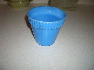 Akro Agate Flower Pot...ribbed Top...4 Inches...blue