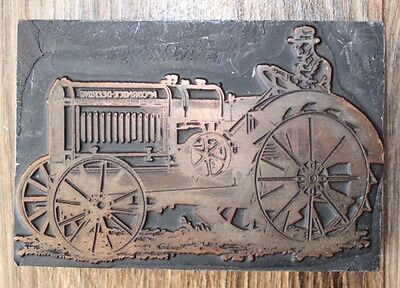 Vintage Tractor McCormick Deering Advertising Stamp Wood And Copper