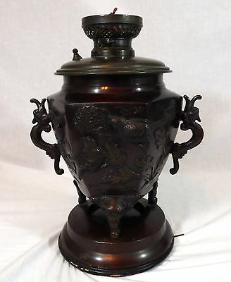 Antique Duplex & Co. Signed Japanese Solid Bronze Oil Lamp W/ Birds & Dragons