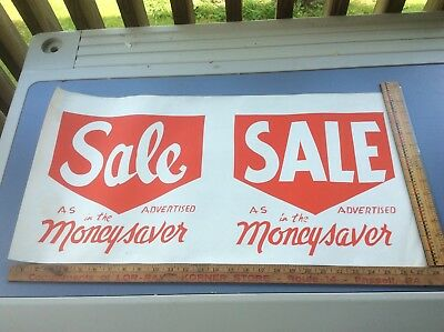 Vintage Sale Moneysaver Grocery Store Paper Advertising, 28 X 14