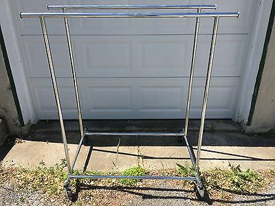 Chrome Metal Retail Double Clothing Rack on wheels with extenders