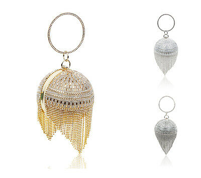 New Ladies Diamante Evening Clutch Bag/Womens Prom Wedding Party Crystal Tassels