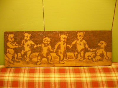 Antique Flemish Art Co. Dancing Bears Plaque Folk Art