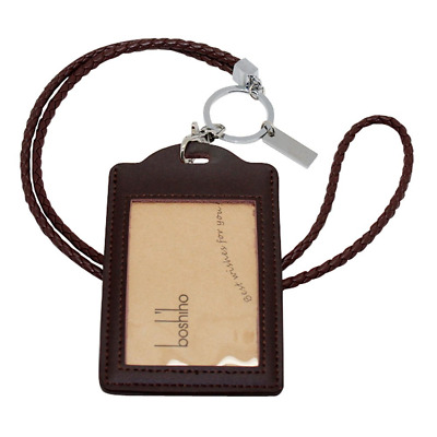 Boshiho Vertical Style Leather ID Card Badge Holder with Heavy Duty Lanyard (Bro