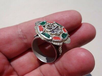ancient Byzantine ~ Middle Ages silver large hollow colour enameled ring