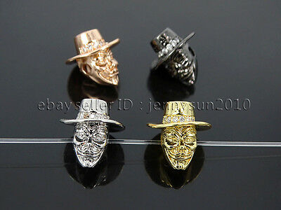 Clear Zircon Gemstones Pave Hat Man Bracelet Connector Charm Beads Silver Gold