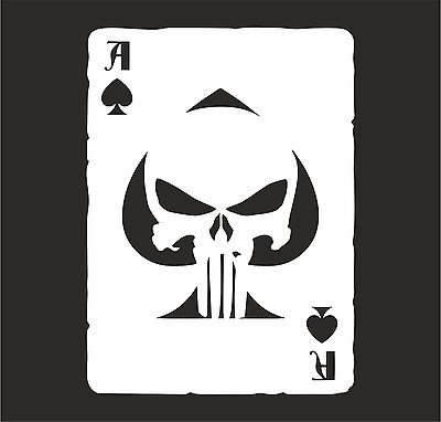 Vinyl Decal Sticker ACE OF SPADES  Old Playing Card Punisher Skull JDM Car  NEW