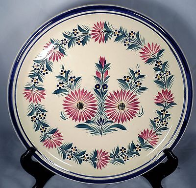 """Quimper French Faience Flower Round Plate Charger Charger Tray 13"""""""