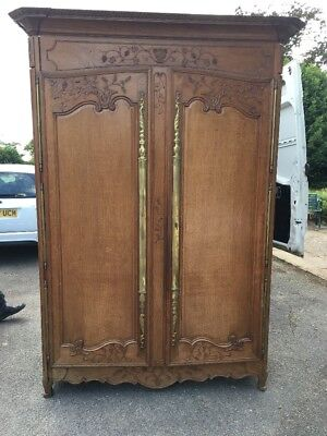 French Carved Oak Antique Marriage Wardrobe Armoire FREE DELIVERY