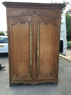 French Carved Oak Antique Marriage Wardrobe Armoire