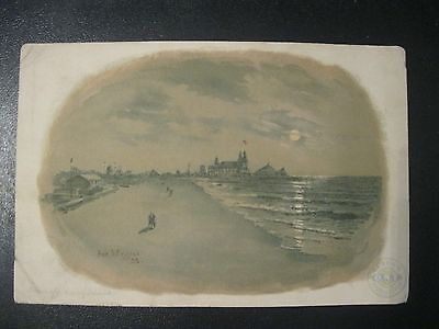 Victorian Trade Card Clark's O.N.T White Cotton Coney Island Artist Signed  54