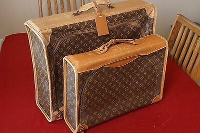 2-Vintage LOUIS VUITTON Monogram Canvas  Suitcases French Company from 1970's