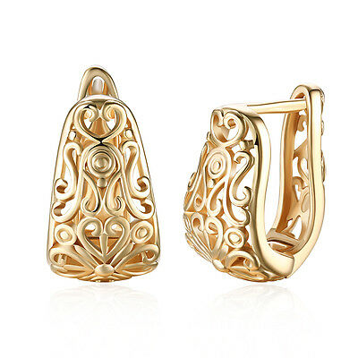 Women 18K Gold Plated Flower Shape Buckle Hoop Huggie Earrings Costume Jewelry