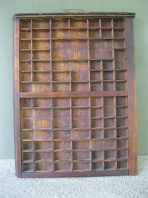 Antique Type Tray Shadow Box Primitive Printers LUDLOW 76 Sections Brass Handle