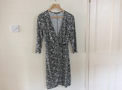Betty Barclay Fitted Wrap Around Dress Black and White Size 12