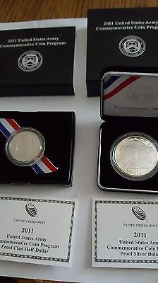 2011 United States Army Commemorative Silver Dollar and Clad Half Proof Coin Set