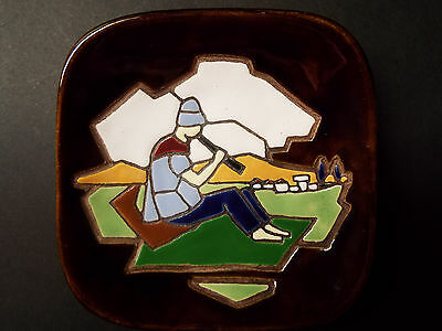 """Keramos Pottery Wall Hanger Plate 4""""x 4"""" Hand Painted made in Israel"""