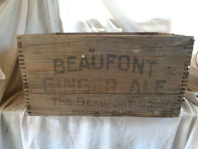 Antique Wood Box Vintage BEAUFONT GINGER ALE SHIPPING CRATE WOODEN RICHMOND VA