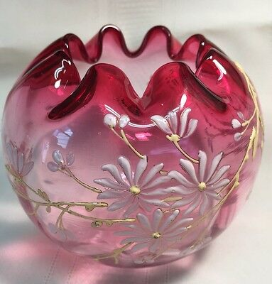 Harrach Bohemian Victorian 1890's Rubina Enameled Cranberry Rose Bowl