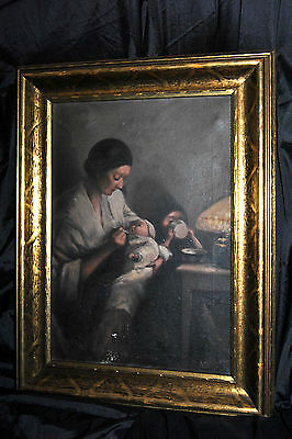 "Antique Vintage ORIGINAL OIL CANVAS PAINTING  by ""A.R. Caplan"" Framed"