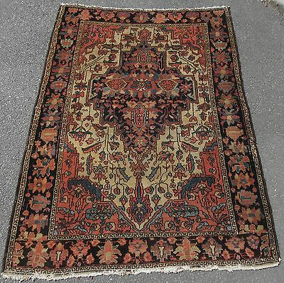 Antique Country House Shabby Chic Persian Sarouk Saruq Rug  100+ Years Old