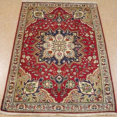 3 x 5 PERSIAN TABRIZ Hand Knotted Wool RED NAVY IVORY Floral Oriental Rug