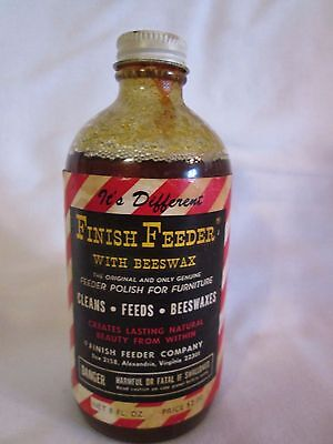 Vintage Paper Label FINISH FEEDER Beeswax Furniture Cleans Feeds Beeswax Polish