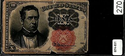 10 Cent Fractional Currency Note Series 1840 Red Seal Thick Key