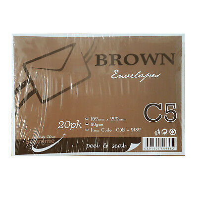 50 X C5 Peel And Seal Brown 162mm X 229 Business Envelopes 90Gsm