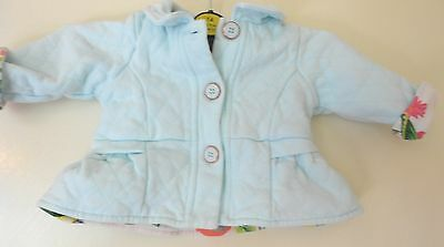 gorgeous pale blue girls  floral vgc Ted Baker MATINEE JACKET Coat 3-6 Months