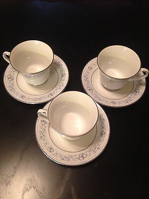 Noritake Dearborn China Teacups With Saucers, Set Of Three--NEW!!!