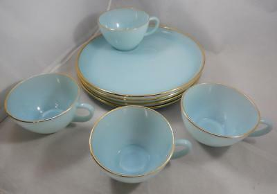 Vintage Anchor Hocking Fire King Turquoise Blue Snack Plate & Cup Set x4 BG059