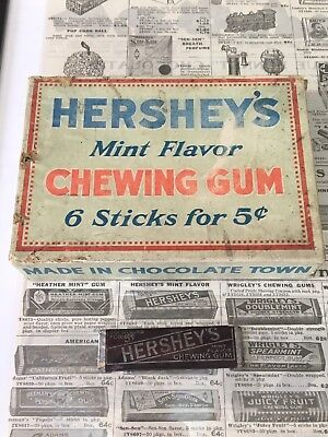 RARE! VINTAGE EARLY 1920's HERSHEY MINT CHEWING GUM 3 PIECE SET!