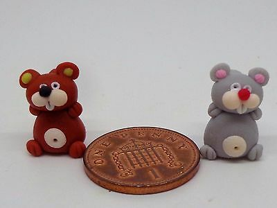2 x  Hand Made Polymer  Dolls House Miniature Nursery -Toy , Ta