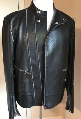 New $6500 Gucci Men's Leather Black Jacket  Full Zip  42 US (52 Euro) Italy