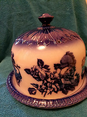 Cobalt Blue Flowered Ironstone Staffordshire England Cake Plate With Lid