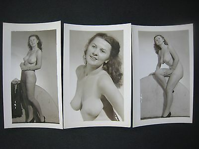Orig. 1950S........pinup Photos... # 567-148..lot Of 3 ..nude,risque,busty