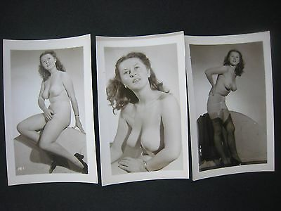 Orig. 1950S........pinup Photos... # 567-149..lot Of 3 ..nude,risque,busty