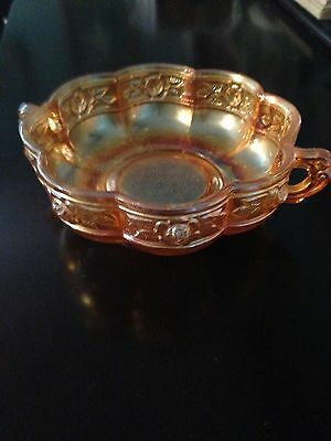 Jeanette Glass Co, Antique scalloped bowl w/handles, marigold aztec rose pattern