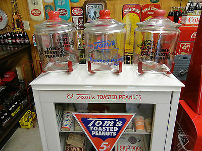 Toms Peanut Slant Front Cabinet Top Cookie Jar 3 Piece Top  Brackett Set For