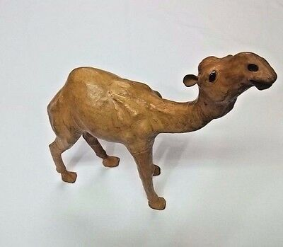 "Vintage Realistic Hand Wrapped Leather Tall 13"" Dromedary Camel Figurine EUC"